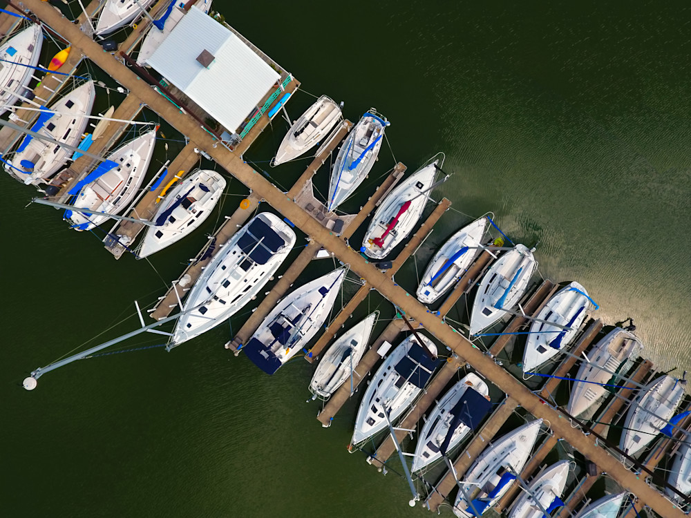 Birds Eye of Docked Boats