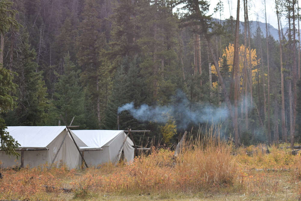 Photograph of Wall Tents in Fall for sale as Fine Art