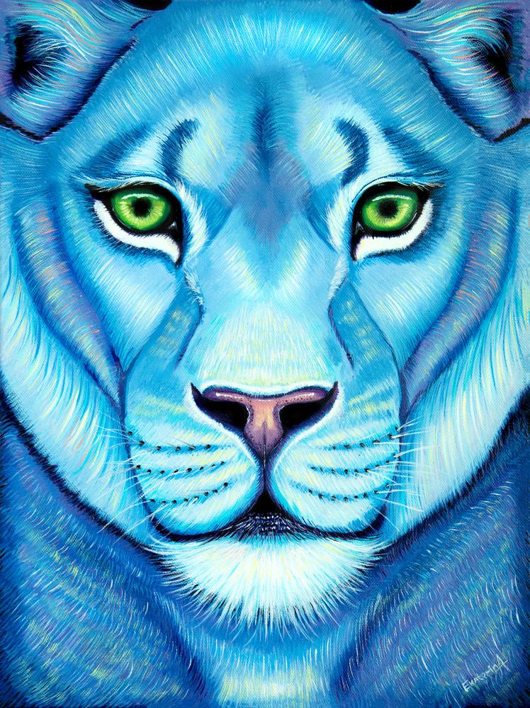 Lioness Oil Paining Print