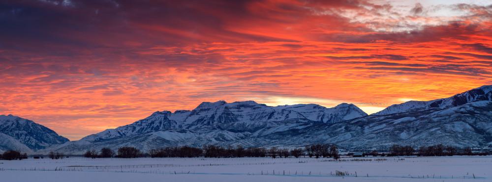heber valley winter sunset panorama