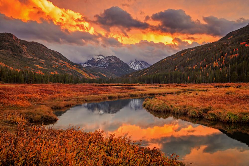 fiery bear river sunset