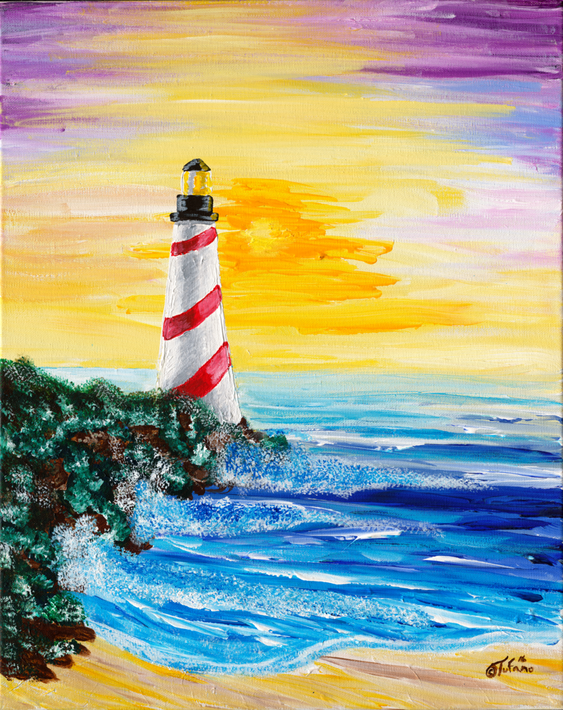 Landscape Art: Lighthouse in the sunset | East coast Lighthouse - Tufano's Gallery
