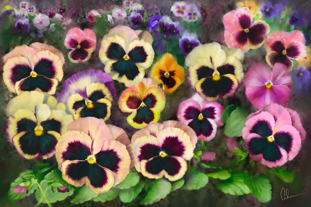 Pansy Field metal wall art. Aluminum prints of original paintings by the artist, Mary Ahern.
