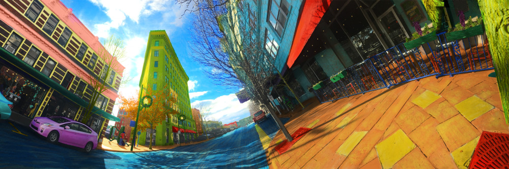 Colorful Distorted Image of the Flatiron Building Asheville NC