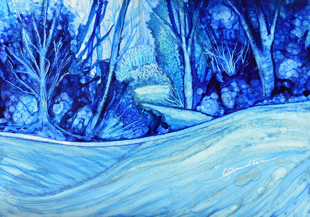 forest, trees, snow, blue, winter, abstract