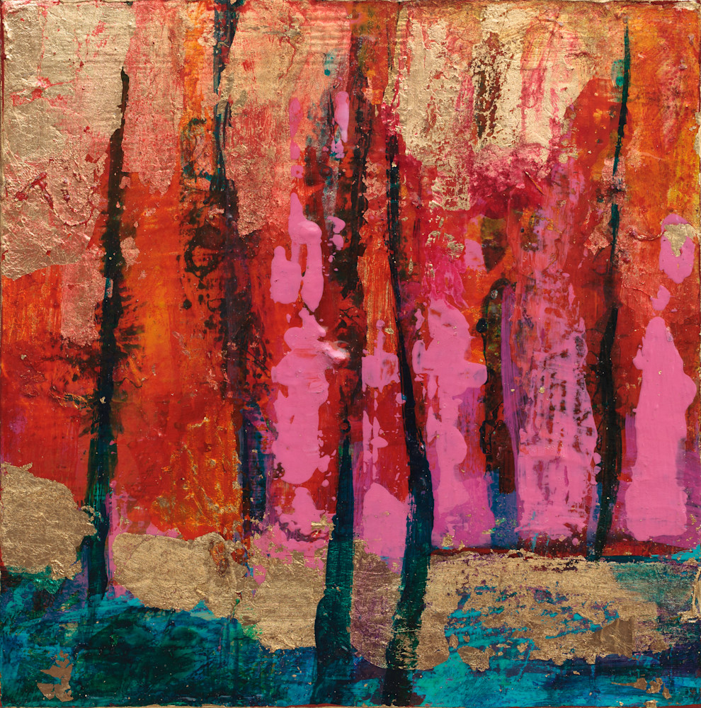 Shimmering Abstract Landscape With Gold Leaf