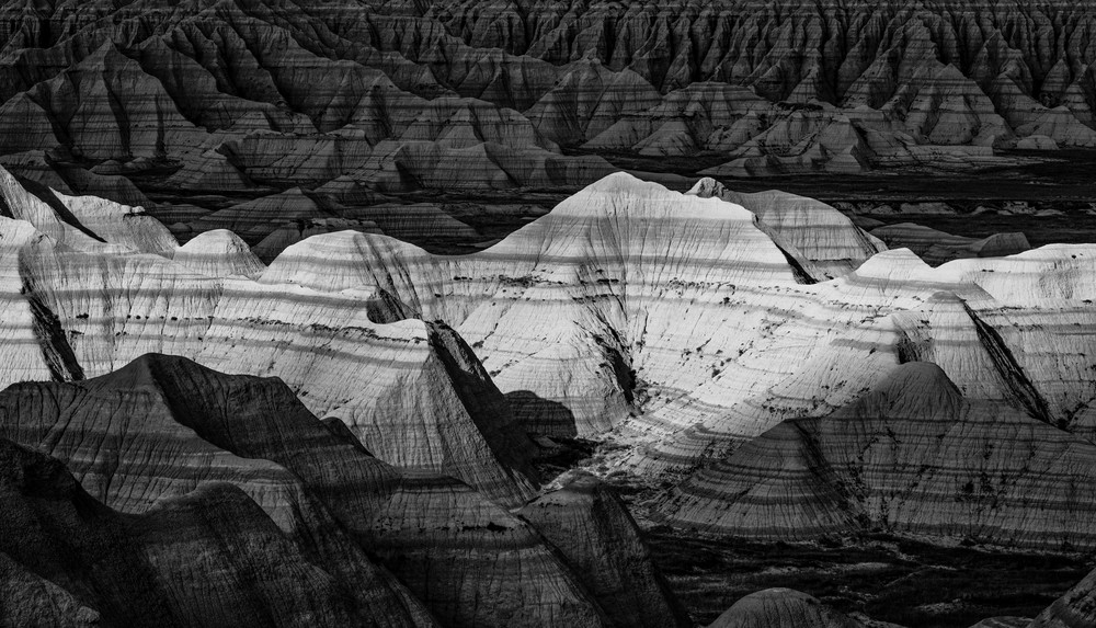 Badlands National Park black and white photography