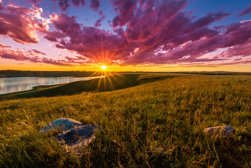Sunset over Lake Oahe photography