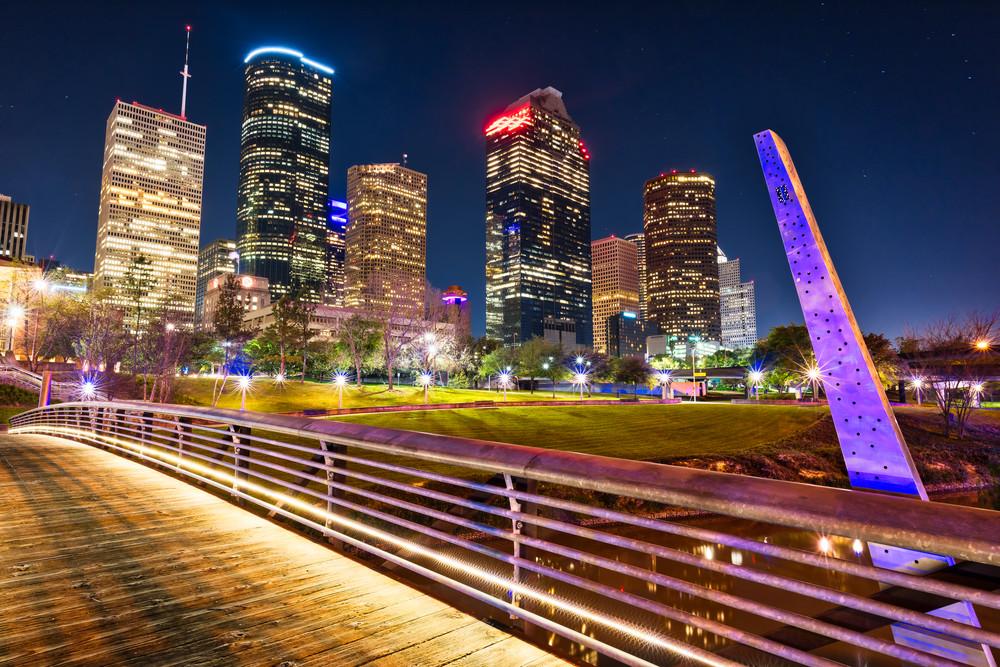 Houston skyline Buffalo Bayou photography