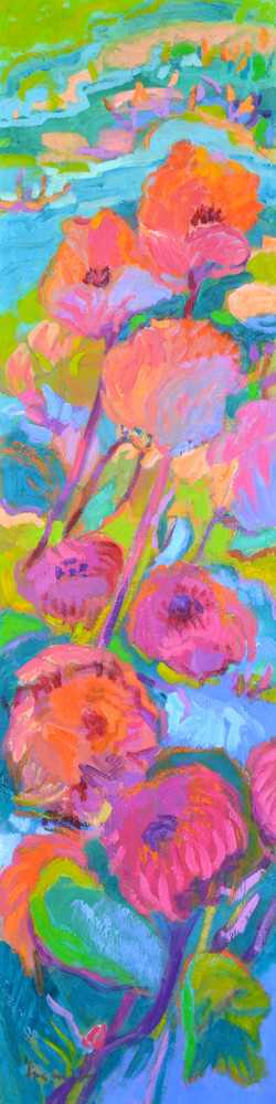 Tall Narrow Abstract Floral, Canvas Print Painting by Dorothy Fagan