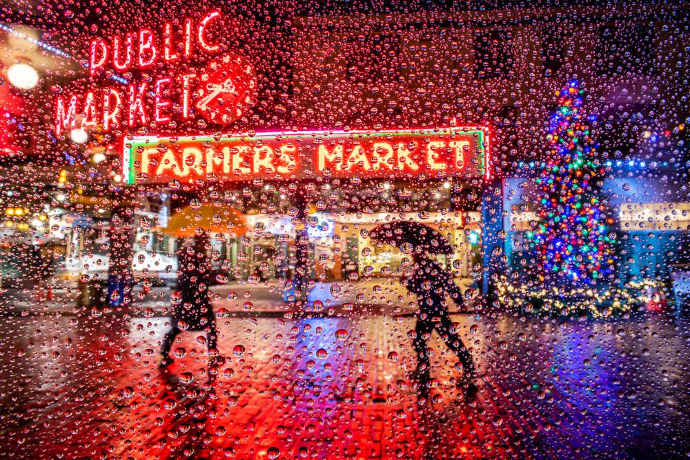 raindrops at Pike Place Market