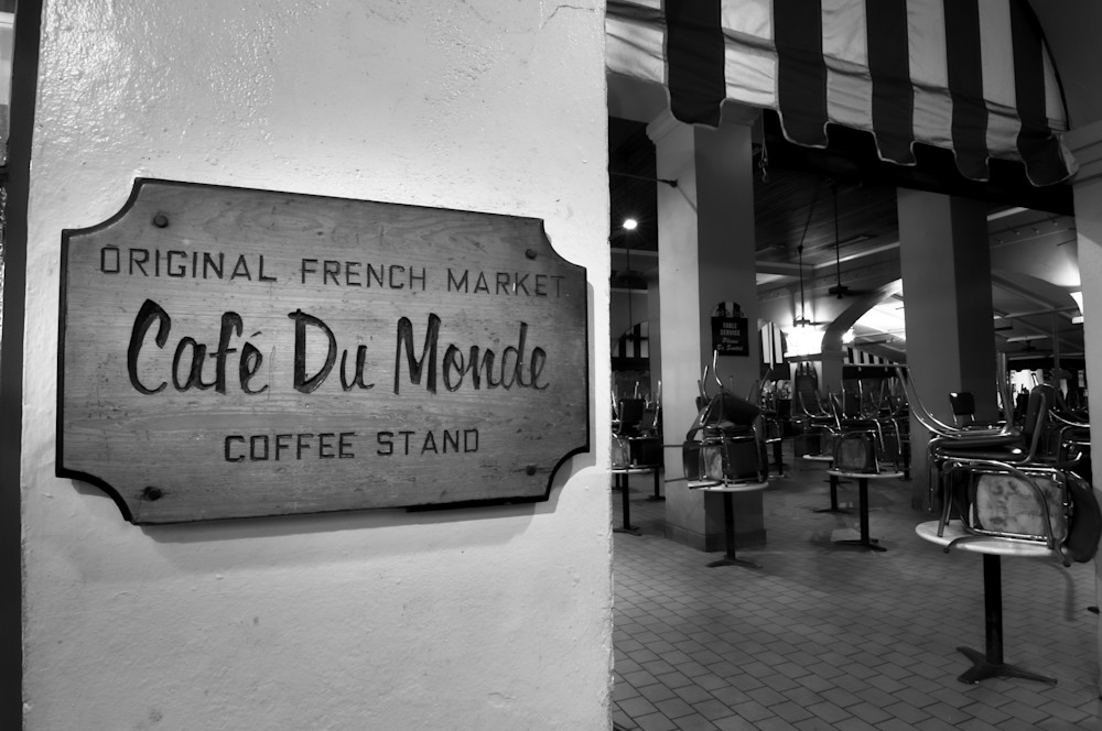 Cafe Du Monde morning black and white photography