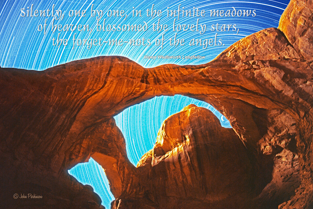 Double Arch in Moonlight is in Arches National Park, near Moab, Utah.