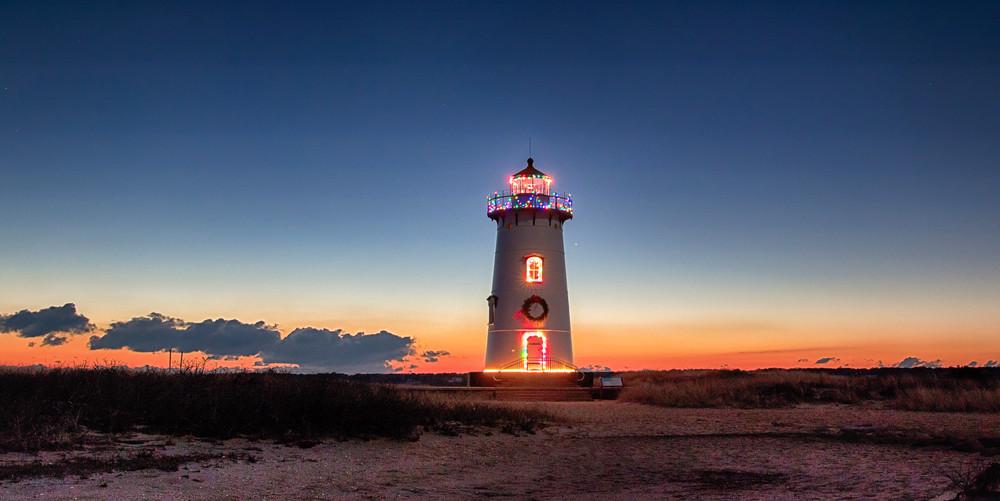 Edgartown Light Christmnas Sunrise Panorama