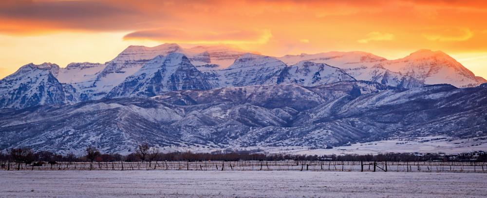 winter timp sunset panorama