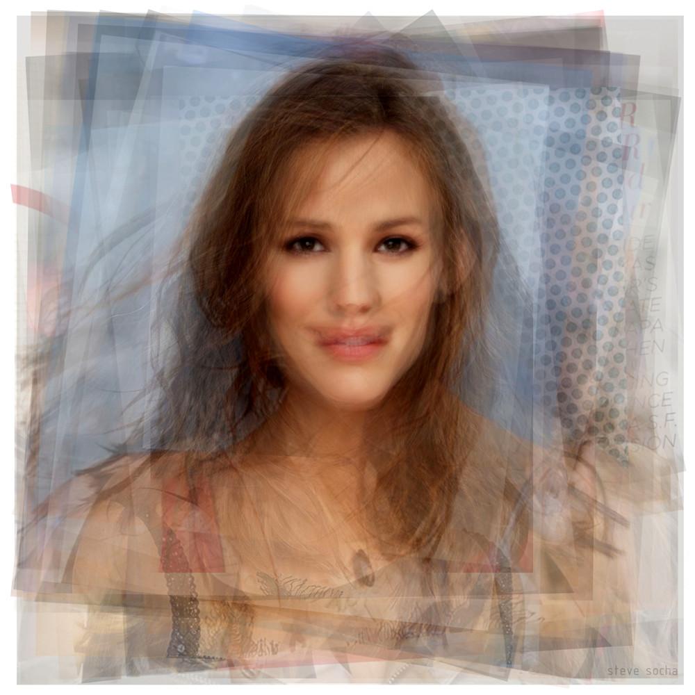 Overlay art – contemporary fine art prints of a Jennifer Garner portrait, made as fan art.