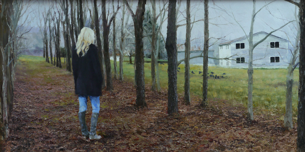 oil art painting girl in grove