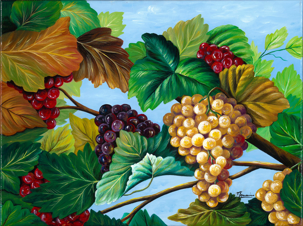Mounira Francis, religious, painting,grapes