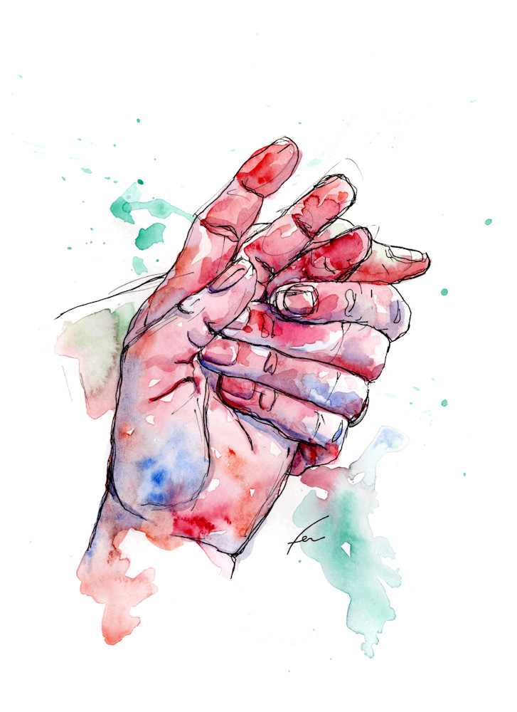 Holding Hand Watercolor Study 3 Art Print