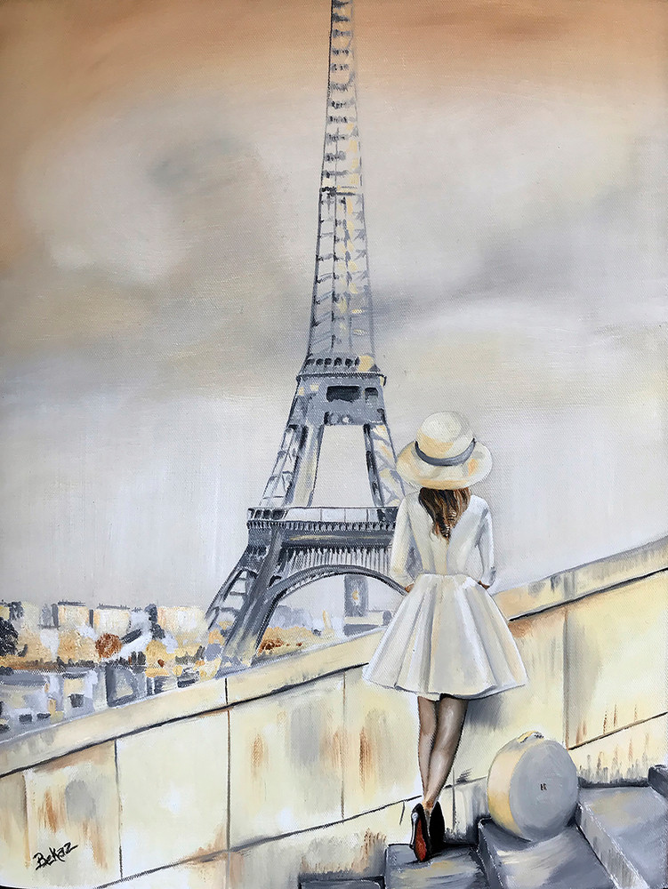 Eiffel, Tower, Paris, Painting, Fashion, Chic, Female