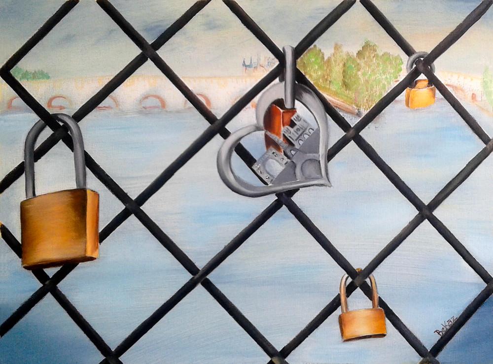 Paris Painting Pont Nuef Locks of Love