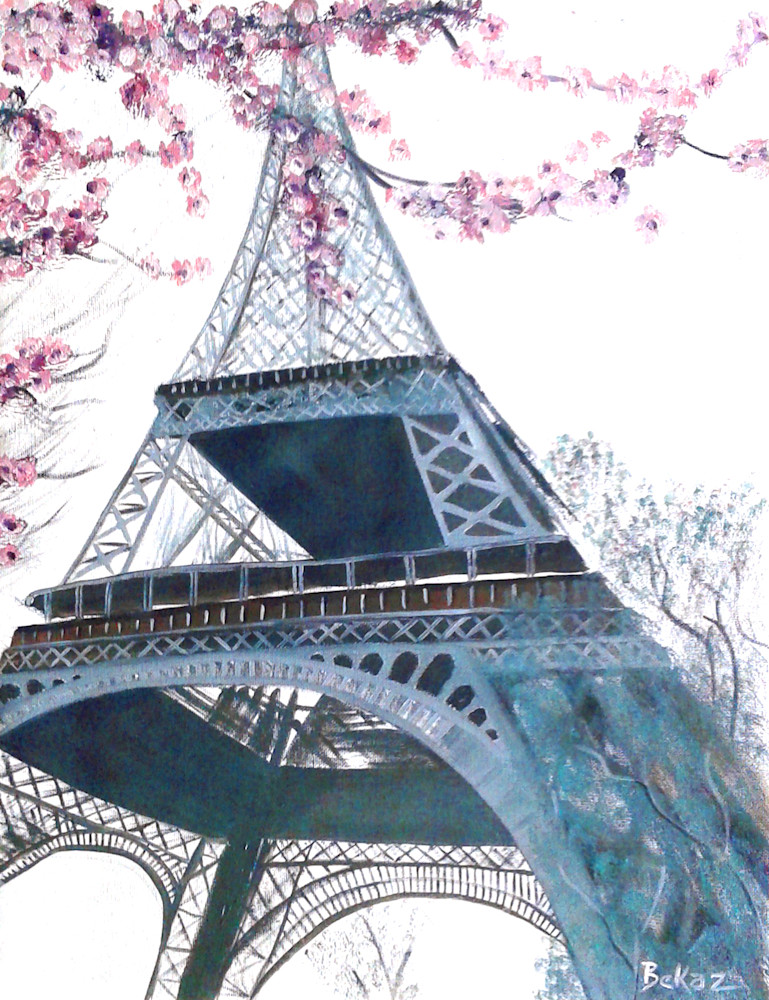 Eiffel Tower Pink Blossoms