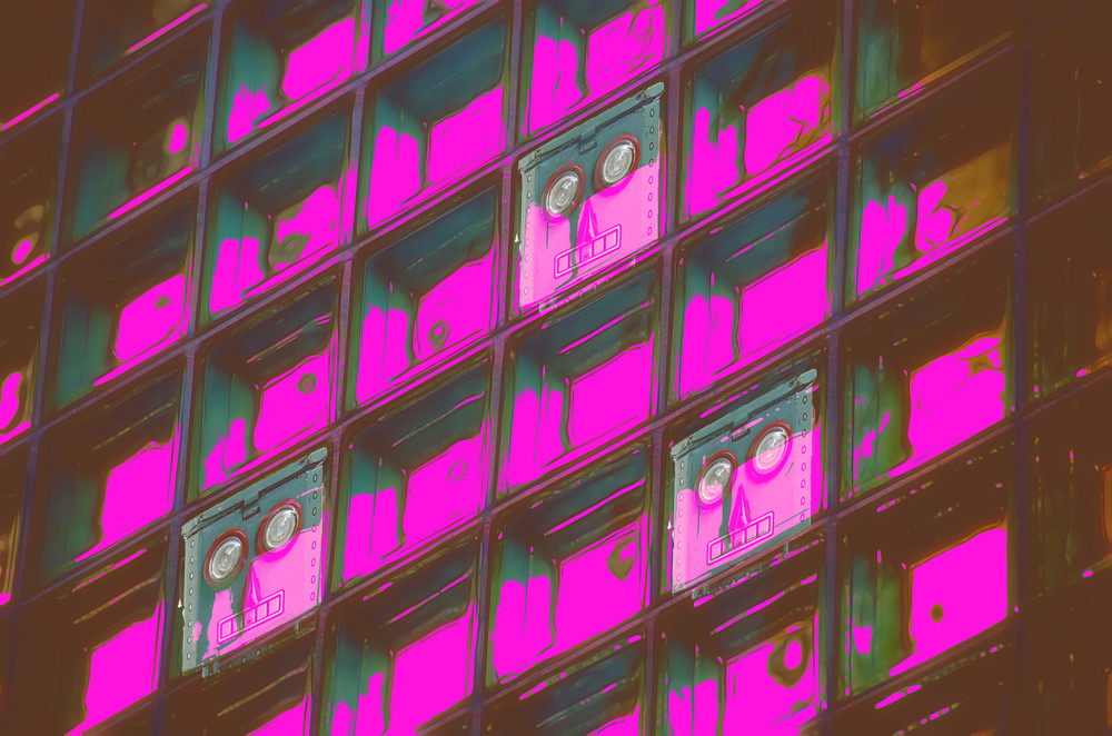 Synthwave glass wall