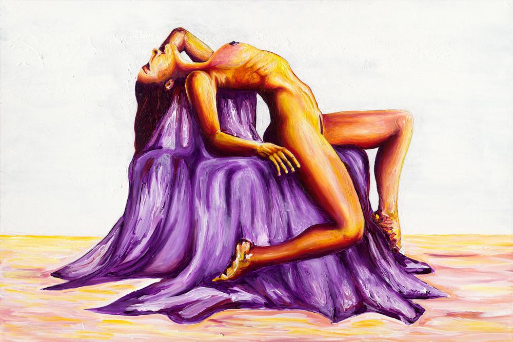 Fine Art: Woman Soaks in Sun | Vibrant female figure pose - Tufano's Gallery