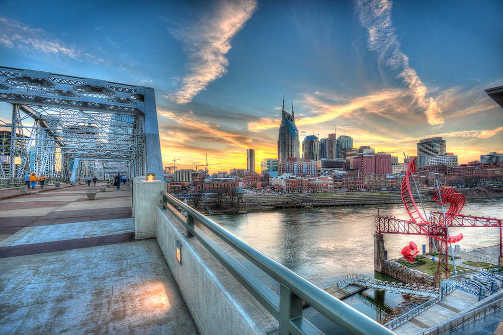 Nashville Skyline Art Sunset Blue Photograph