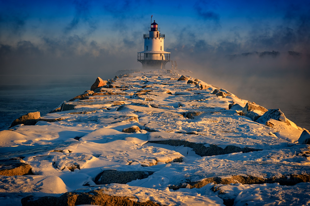 Winter Morning at Spring Point Ledge Lighthouse, by Rick Berk