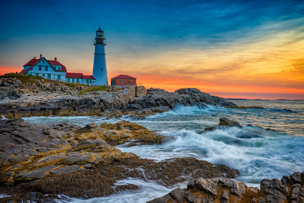 Sunrise at Portland Head Light by Rick Berk