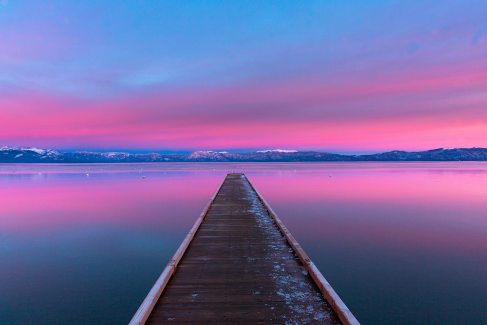 Kaspian Pier Alpenglow I Lake Tahoe Landscape Photography I David N. Braun