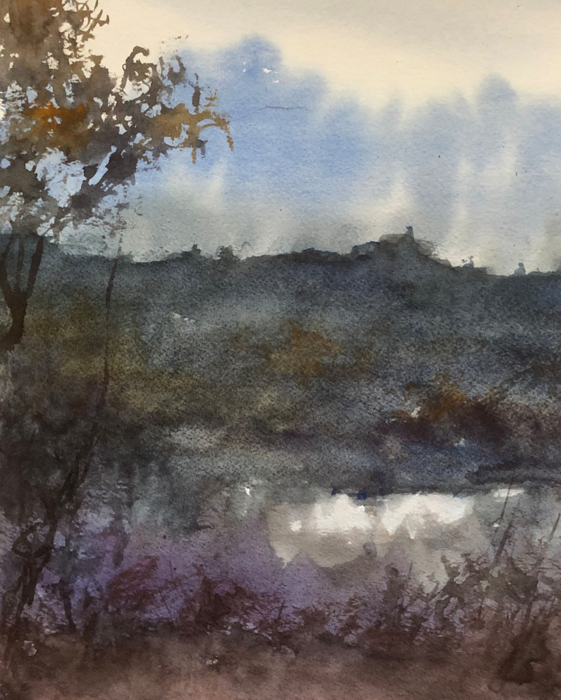 Lavender By The Lake | Watercolor Painting | Artist Nishita Jain