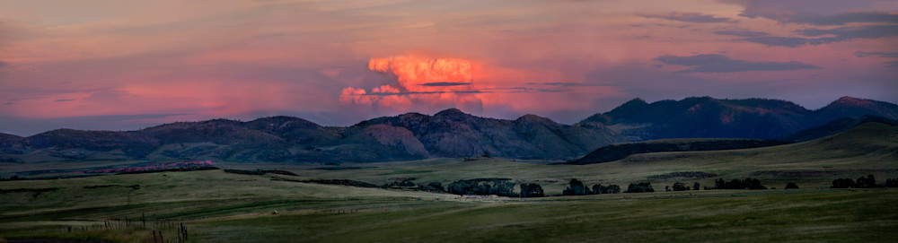 Panoramas: Peaceful Evening, a spectacular wide-view color photograph of the Colorado ranch lands by fine art photographer, David Zlotky