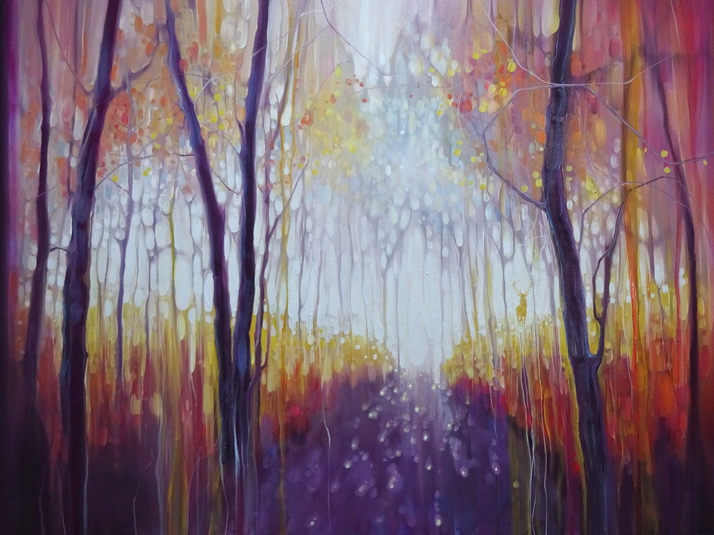 a semi abstract landscape print of a woodland path through a forest with a golden stag