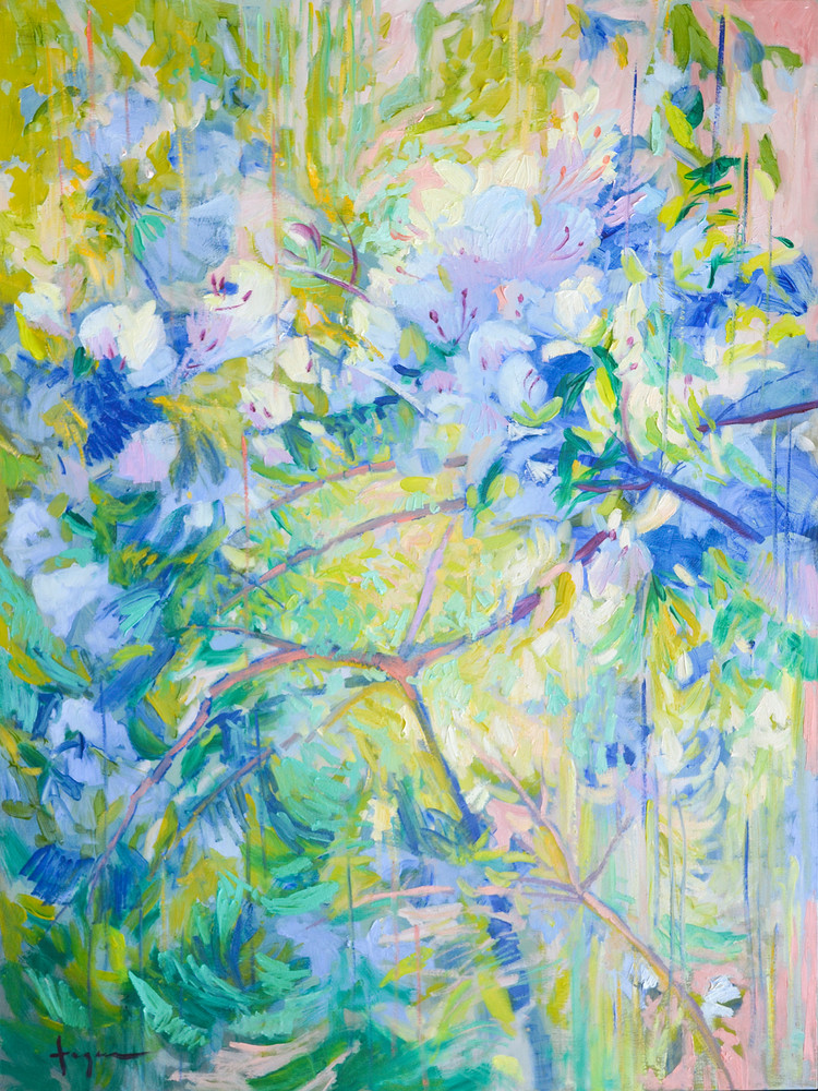 Abstract Garden Painting Large Art Print Canvas by Dorothy Fagan