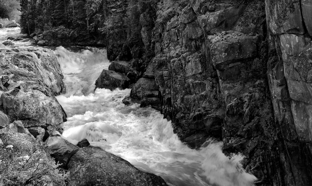 The Serenity of Water Collection | Poudre Rapids is a fine art black and white photograph by fine art photographer, David Zlotky