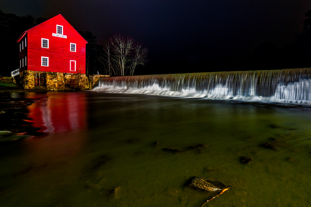 Starr's Mill at night photography