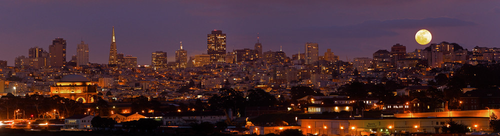Full Moon Over SF by Josh Kimball Photography