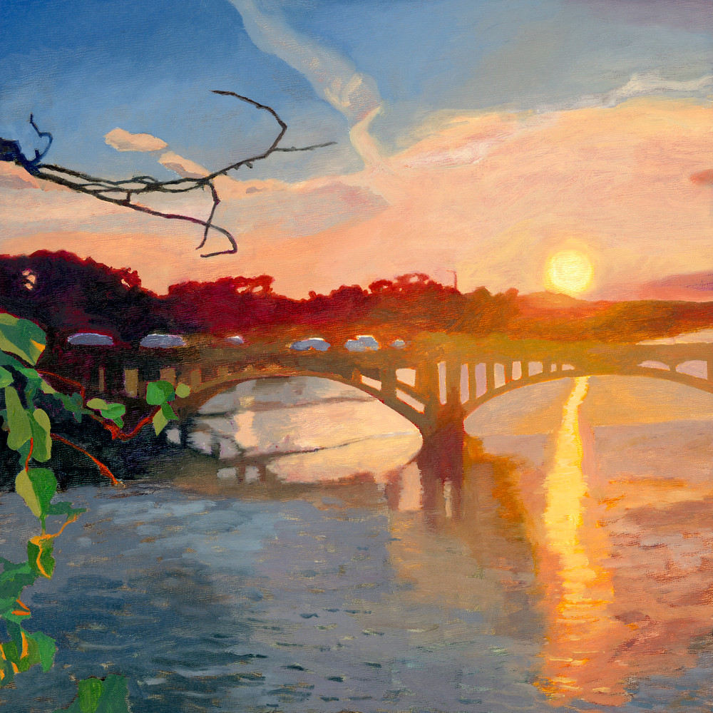 Lamar Bridge Sunset, Austin Art, The Art of Max Voss-Nester