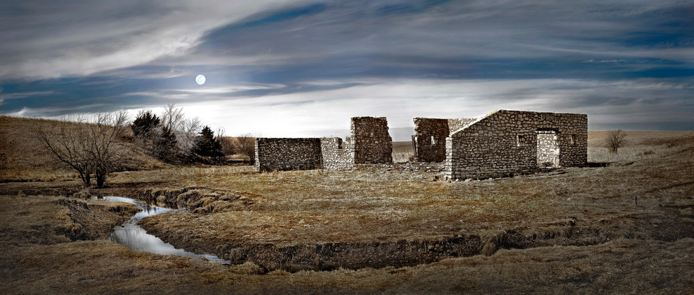 Panoramas/Wide View Collection - color | Flint Hills Bones. Color fine art photograph of abandoned structure on the Kansas Flint Hills by David Zlotky