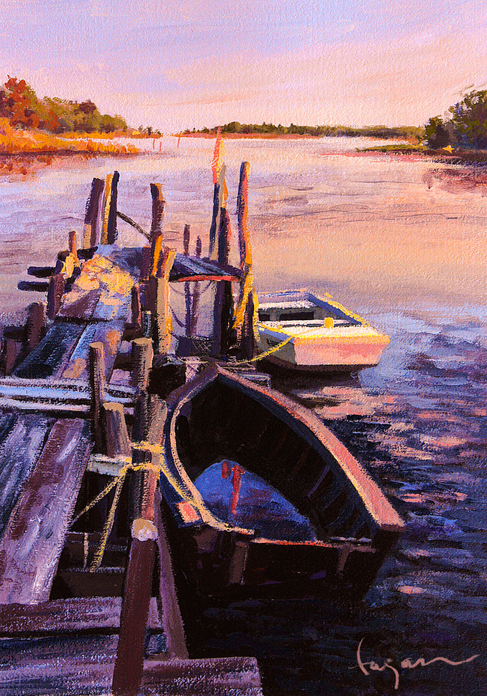 Work Boats Painting Limited Edition Print by Dorothy Fagan