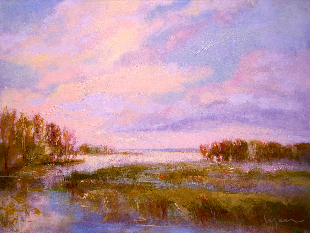 Tranquil Sunset Painting Art Print, King's Creek by Dorothy Fagan