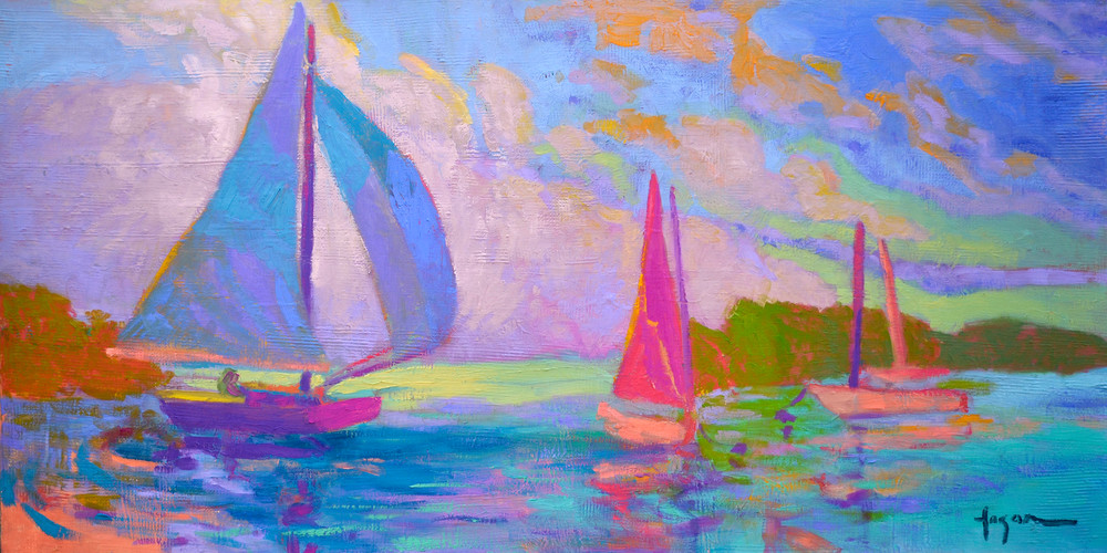 Abstract Sail Boat Art Print Painting, West Wind by Dorothy Fagan