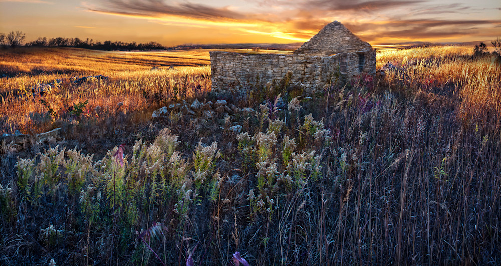 Panoramas/Wide View - color | The Olson Place: Wake of Shadow - color. Fine art color photograph of deserted homestead by David Zlotky.