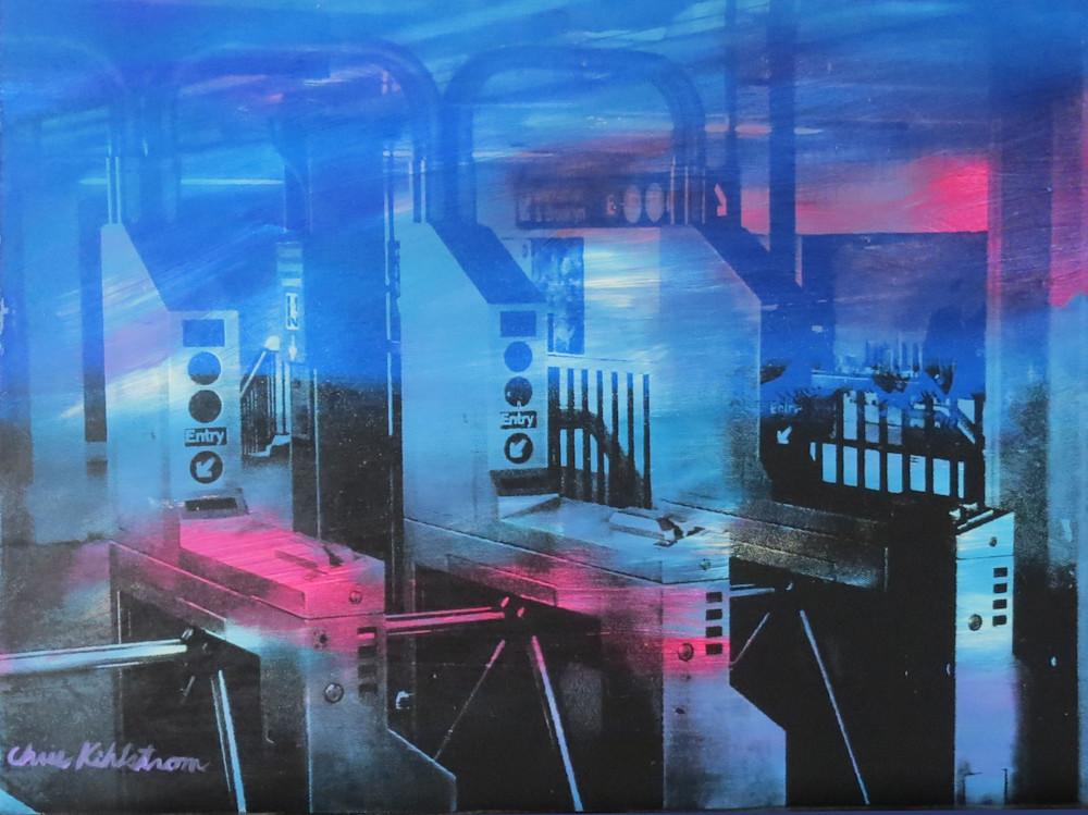 Blue, Black And Red Subway Turnstiles Art | kihlstromfineart