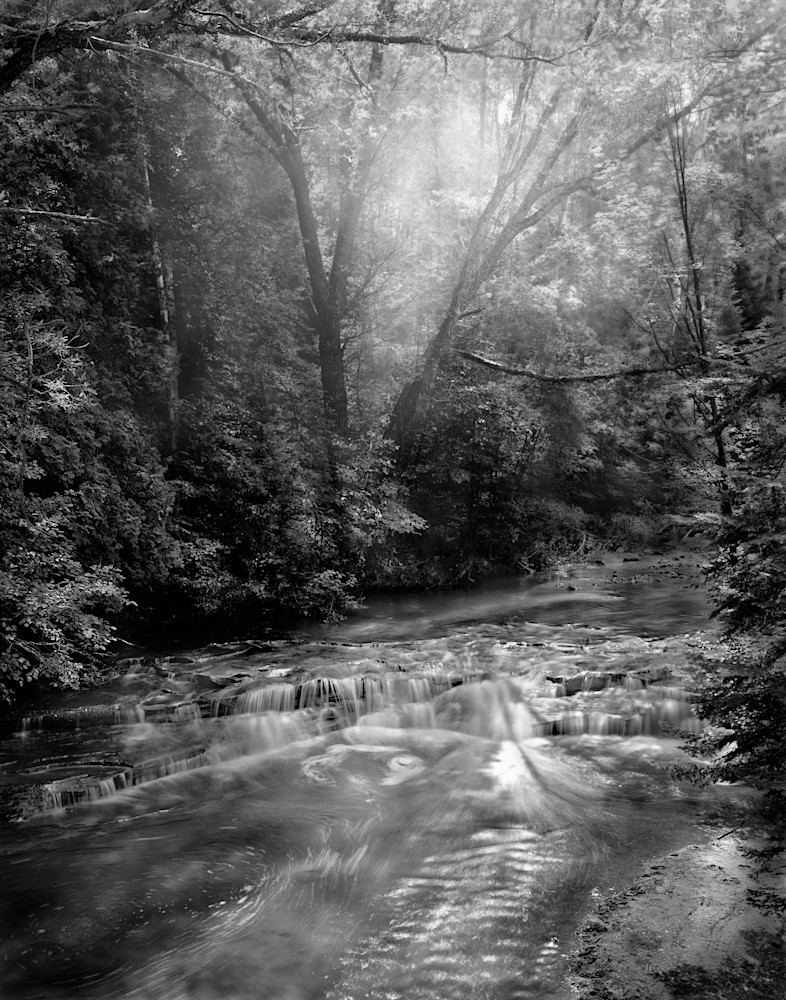 The Serenity of Water Collection   Siskiwit Falls, Northern Wisconsin. A fine art, black and white photograph of a stream by David Zlotky