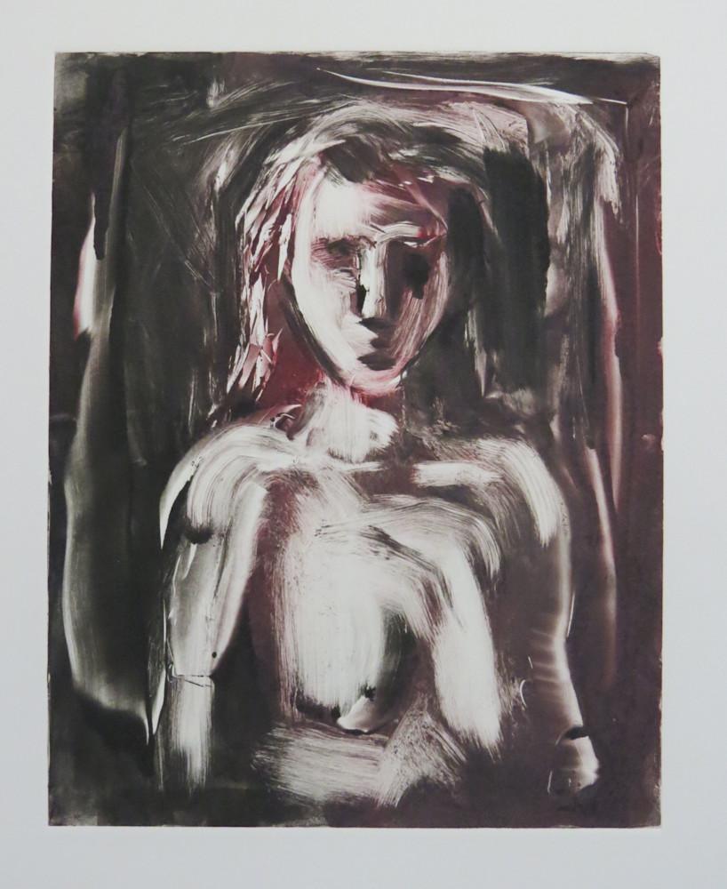 Black and Maroon Nude Female Portrait