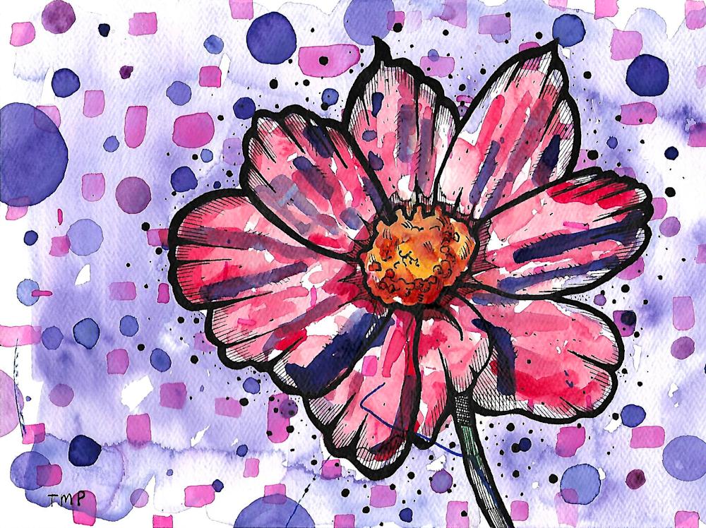 Matt Pierson Artworks | Bold Lines Red Flower Black Dots