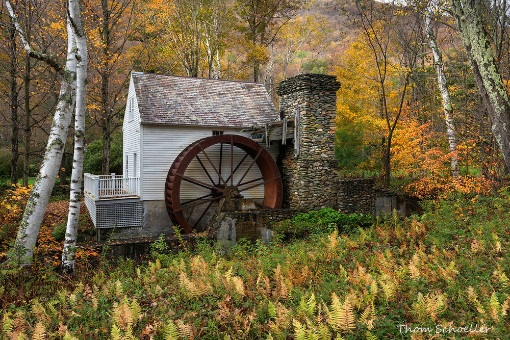 Charming Vermont white Grist Mill in autumn/Fine Art photography prints